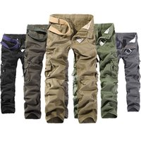 Wholesale Military Combat Trousers - Men's Military Army Combat Cotton Camo Cargo Pants tactical Casual Mens Pant Multi Pocket Outdoor straight trousers Plus Size 28-42