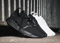 Wholesale Nipple Out - New NMD Japan Pack Triple White BZ0221 Triple Black BZ0220 Real Boost NMD R1 Primeknit Running Shoes Small nipples Boost With Box
