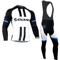 jerseys negros de manga larga al por mayor-NUEVO GLANT tour DE France equipo Jersey de ciclismo conjunto manga larga negro / blanco ciclismo ropa ciclismo Tops + BIB acolchado pantalones traje de bicicleta