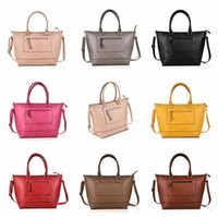 Wholesale tote purses wholesale - Women Fashion Shoulder Bag PU Leather Solid Color Handbag Tote Purse Bags Messenger Crossbody Bag 8 Colors OOA3769