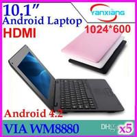 Wholesale Mini Laptop Netbook Dhl - DHL 5PCS 10 inch VIA 8880 mini Netbook laptops Android 4.2 windows Laptop 512M 4GB with webcam HDMI ZY-BJ-3