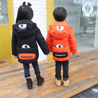 Wholesale European Children Clothes Sizes - Children s clothing down jacket boy and girl down warm jacket owl cute autumn and winter jacket retail 3 color 5 size