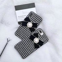 Wholesale pearl phone covers - For iPhoneX 8 8plus chic houndstones Rhinestone pearl Bowknot phone case hard cover for iPhone7 6 6S 7plus.