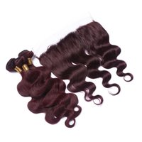 Wholesale red wine body wave hair resale online - Dark Wine red J Body Wave Hair Bundles With Lace Frontal x4 Unprocessed Burgundy Human Hair Bundles With Lace Frontal
