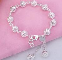 Wholesale Sterling Silver Ball Link Chain - 925 sterling silver bracelet, 925 sterling silver fashion jewelry Ball Bracelet  antajfaa ezdanqka best gfit cc789