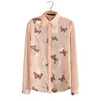 uzun bluzlar çin toptan satış-Kadın bluzlar kelebek altın folyo baskı şifon bluz Güzel yaz bayanlar casual uzun kollu gömlek tops ucuz giysiler çin