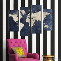 Wholesale Oil Paintings Maps - 4 panel Blue Map Painting World Map With Mazarine Background Picture Print On Canvas Unframed For Home Modern Decoration