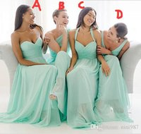 2017 Türkis Chiffon Brautjungfer Kleider Verschiedene Mix Styles Mint Green Günstige Lange Trauzeugin Plus Size Beach Garden Formal Prom Gown