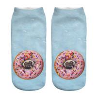 Wholesale Digital Print Dresses - Wholesale-2016 hot Sale 3D Digital Printed Blue donut Pug Women Socks Unisex Fashion Cute Short Sock Women Low Cut Dress Sock Hot