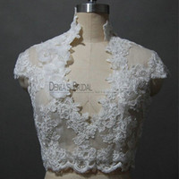 Wholesale High Collar Bolero Wedding - 2017 Bridal Wedding Jacket with High collar V-neck Capped Sleeve Lace Appliques Handmade Flowers Pearls Buttons Real Images Wedding Bolero