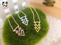 Wholesale Three Triangle Necklace - 10PCS- N112 Gold Silver Three Triple 3 Triangles Necklace Pyramid Necklace Chevron V necklace Simple Geometric Necklaces for Men