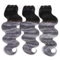 venda de extensões de cabelos indianos venda por atacado-Brasileiro tramas do cabelo tecer cabelo humano onda do corpo Ombre 1B Cinza Escuro Peruano extensões de cabelo Indiano Malaio 8A venda quente