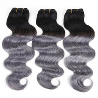Wholesale Ombre Hair Sale - Brazilian hair wefts human hair weave body wave Ombre 1B&Dark Grey Peruvian Malaysian Indian hair extensions 8A hot sale