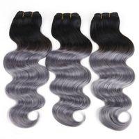 satılık ombre hair extensions toptan satış-Brezilyalı saç atkı insan saçı örgü vücut dalga Ombre 1BDark Gri Perulu Malezya Hint saç uzantıları 8A sıcak satış