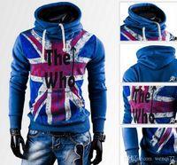 Wholesale England Flag Prints - Autumn Men's Outwear Fleece Hoodies England Flag Printed Novelty Pullover Coats Sweatshirts