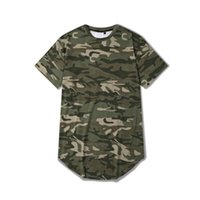 Wholesale Sport T Shirt Camo - Wholesale-Men summer short sleeve camouflage extended t shirts casual sport hip hop t-shirt men's camo outdoor streetwear tees camiseta