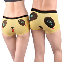 Wholesale Cartoon Man Panties - Wholesale-Hot Lover Fashion Panties Men Women Personality High Elastic Cotton Sexy Cute Cartoon Panda Couples Underpants Briefs Knickers