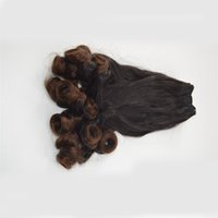 kıvırcık yay toptan satış-Teyze Funmi Brezilyalı Ombre Saç Örgüleri, İki Ton Ombre İnsan Saç Bahar Kıvırcık Demetleri, T1B / 30 Romantizm Bouncy Kıvırcık Saç G-EASY