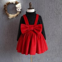 autumn korean fashion kids clothes Canada - Hot Girls Dress Christmas Kids Clothing 2016 New Autumn Winter Dress Korean Fashion Sleeveless Bow Princess Dress With strap D150