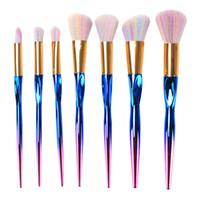 Wholesale synthetic fiber brushes resale online - 7pcs Rainbow Metallic Makeup Brushes Set Grasp Make Up Brush Fiber Hair Powder Eyeshadow Eyebrow Eyeliner Brush set Lip Brush Beauty Tool