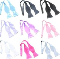 Wholesale Mens Bow Self Tie - Mens male Ms. Hand hoists bow tie polyester satin solid color gourd bow tie Self bowknot necktie gourd shape