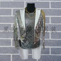 Wholesale Ds Xl Game - Quan Zhilong same paragraph sequined tuxedo bar guest host night games DS sequined costumes clothing for men and women costumes