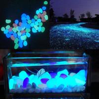 ingrosso pietre scure-5pcs glow in the dark ciottoli pietra home decor passerella acquario serbatoi di pesce