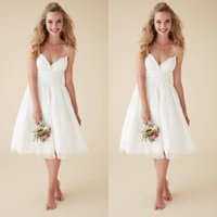 Wholesale Casual Beach Wedding Dresses Ruched - 2016 New Arrival Short Beach Wedding Dresses A Line Casual Lace Bridal Gowns with Spaghetti Straps Cheap High Quality Garden Brides Wear