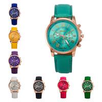 Wholesale Geneva Double Watch - Christmas gift Geneva double literal unisex watches,fashion three eyes Quartz wrist watches 11 colors strap watch GTPH6