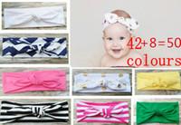 Wholesale Chevron Stripe Ribbon - Baby Girl Turban Twist Headband Head Wrap Twisted Knot Soft stripe Hairband chevron Headbands golden Wave dot HeadWrap