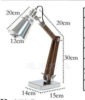 Wholesale Read Industrial - 220V.E14.40W Creative Personality Loft Retro Industrial Style Wooden Folding Arm Table Desk Reading Office Lights Lamp Indoor Lighting