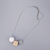 Wholesale Grey Necklaces Women - Wood Cubic Matt White Ball Grey Plastic Coin Link Snake Chain Long Necklace Woman Fashion OL Minimal Eleganct Statement Necklace OEM ODM