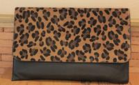 Wholesale Leopard Hair Clutch - Wholesale-HOT Lady Leopard Artificial leather Clutch Bag,Women Horse Hair evening bags leopard Purse Handbag Envelope Evening Bag CTT234