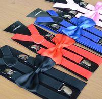 erkek kravat kemeri toptan satış-Yetişkin Jartiyer + Papyon Set Erkek Kadın Cuhk çocuk Papyon Ayarlanabilir Askı Seti Alaşım Elastik Askı Kemerleri düz renk
