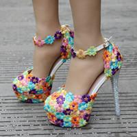 su geçirmez sandalet kadın toptan satış-Renkli Dantel Çiçekler Kadın Düğün Ayakkabı Gelin Moda Elmas Elbise Ayakkabı Yüksek Topuk Sandalet Su Geçirmez Pompaları