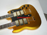 Wholesale Double Pickups - Wholesale Guitars Gold top 3 Pickups Double Neck Electric Guitar Abalone Inlay Fingerboard