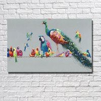 Wholesale Bird Picture Frames - Hand painted Beautiful Birds Paintings Nice Decorative Pictures Living Room Wall Decor Pictures Canvas Wall Painting No framed