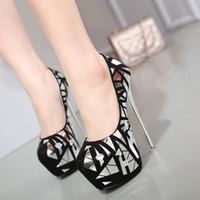 Wholesale princess style women dresses - 16cm Princess style rhinestone platform high heels shoes women pumps sexy lady wedding shoes size 34 to 40