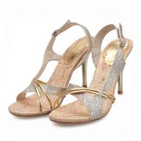 Wholesale Ladies Sequins Sandals - 2016 new spring and summer sandals elegant and Sexy Ladies Club Gold sequins