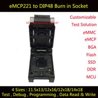 eMCP221 para DIP48 IC Test Socket para teste BGA 221, tamanho 11.5x13mm, nand programador flash, Clamshell Burn in Socket Wholesale