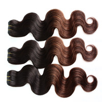 """Wholesale T 28 - 3pcs lot 8A Ombre Hair 10""""-30"""" Brazilian Human Hair Extensions Ombre Dip Dye Two Tone T#1B #4 Hair Weave Weft Body Wave"""