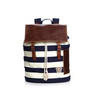 Wholesale Patchwork Books - The same direction Leisure stripes students book bag fringe leather patchwork casual satchels bags for men and women backapacks bags 212268