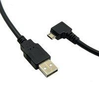 Wholesale Android Telephones - 90 Degree Left Angled Android telephone Micro USB Male to USB 2.0 Data Charge Cable for Cell Phone & Tablet 3m black