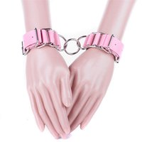 Wholesale Handcuffs Pink - pink pu Leather Handcuffs Restraints Costume Adult Sex Flirt Toys Sex Products Harness Sex Toys S&M Erotic Toys for Couples