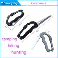 Wholesale Key Chains Clamps - Cheap Clip-On Carabiners Clamp Key Chain Hook with Dual Knife Outdoor Camping Hiking Tool Outdoor Safety Hot Sale