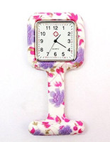 Wholesale Nurse Doctor Styles Watches - HOT 20 Styles Square Colorful Prints Silicone Nurse watch Pocket Watches Doctor Fob Quartz Watch Kids Gift Watches