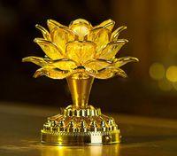 ingrosso fiore ac-Oro batteria Buddha musica altoparlante luce fiore fantasia colorata che cambia LED fiore di loto decorazione matrimonio romantico lampada festa AC85V-250V