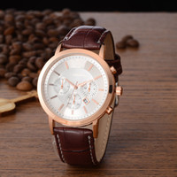 Wholesale Watches Brass Case - Free Shipping 2016 New Top Brand Men Watch Leather Strap Alloy Case Analog Display Luxury Quartz Watches Men Business Sports Montre Homme