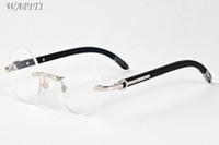 Wholesale Wood Black Eyeglasses Frames - black buffalo horn glasses 2017 brand designer sunglasses for men round circle lenses wood frame eyeglasses women rimless sunglasses