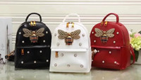 Wholesale Womens Backpack Style Handbags - Free shipping Newest style Fashion design bee Beads embellished 21cm womens brand PU handbags Backpack totes Backpack Style Shoulder Bags
